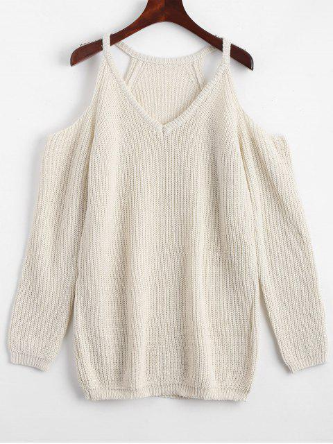 lady Cold Shoulder Plain Longline Sweater - OFF-WHITE ONE SIZE Mobile