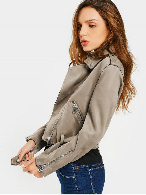 buy Asymmetric Zipper Belted Faux Suede Jacket - CAMEL XL Mobile