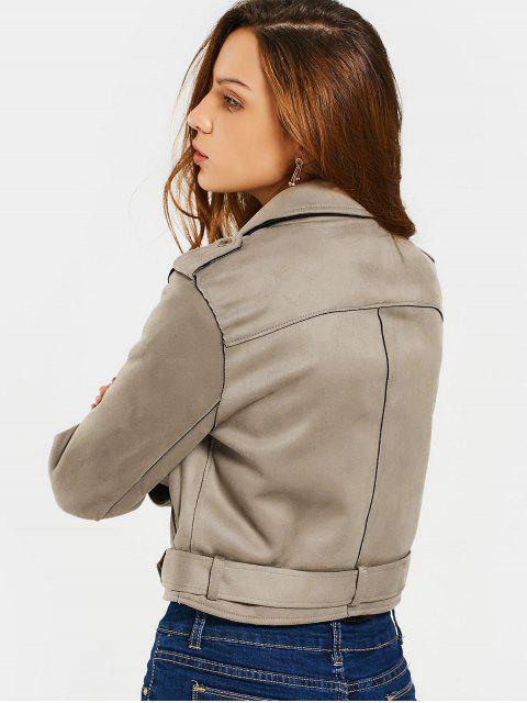 women Asymmetric Zipper Belted Faux Suede Jacket - CAMEL M Mobile
