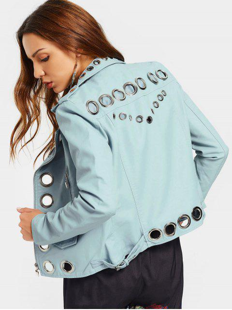 ladies Hollow Out Ring Embellished Faux Leather Jacket - LIGHT BLUE XL Mobile