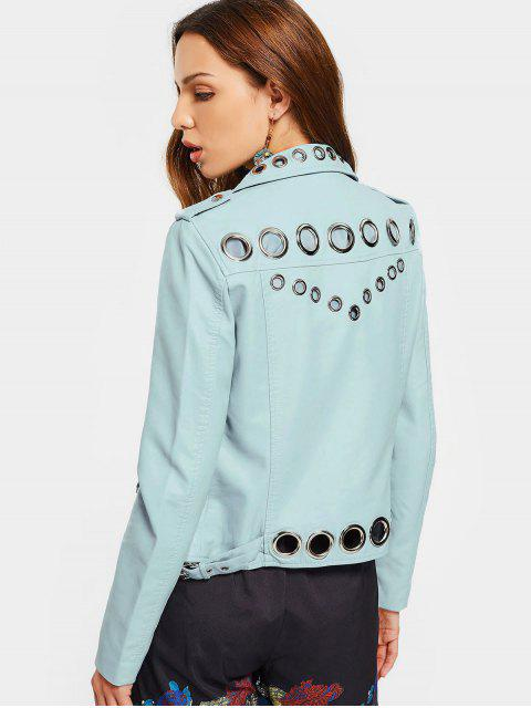 best Hollow Out Ring Embellished Faux Leather Jacket - LIGHT BLUE M Mobile