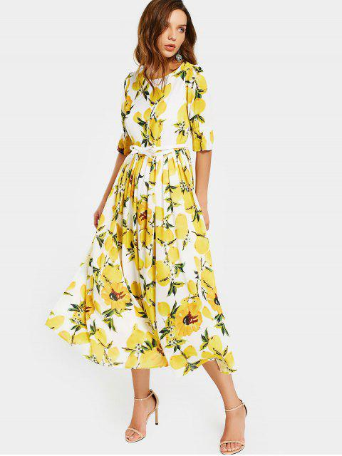 buy Lemon Print Belted Dress - WHITE AND YELLOW M Mobile