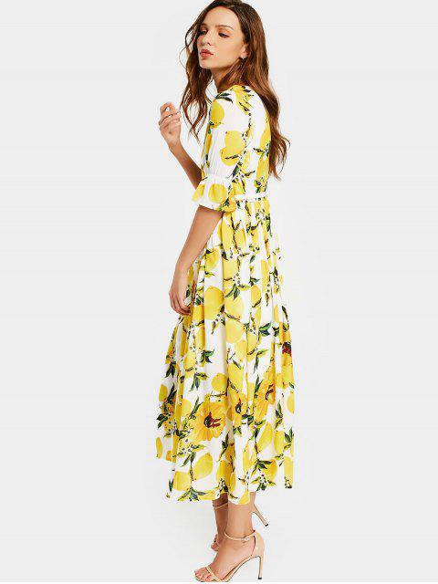 hot Lemon Print Belted Dress - WHITE AND YELLOW 2XL Mobile