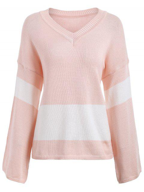buy Color Block Drop Shoulder V Neck Sweater - LIGHT PINK ONE SIZE Mobile