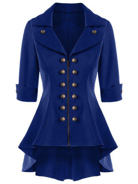 Abrigo trenzado corto de doble botonadura - Azul Marino L Mobile