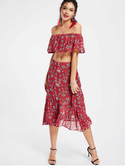 hot Floral Off Shoulder Tube Top and Ruffles Midi Skirt - RED S Mobile