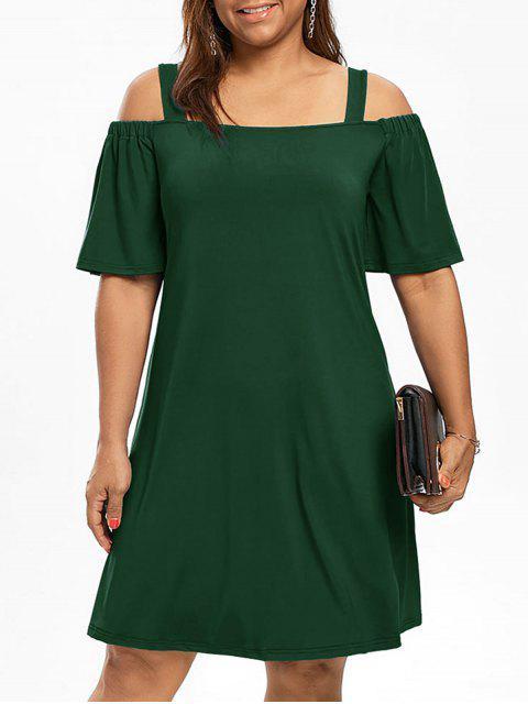 Plus Size Cold Schulter Halbes Ärmel Kleid - Dunkelgrün XL  Mobile