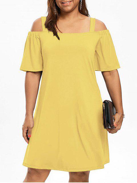 Kalte Schulter Halb Ärmel Übergroße Kleid - Gelb XL Mobile