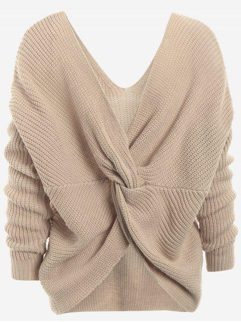 hot Plunging Neck Twist Back Sweater - KHAKI ONE SIZE Mobile