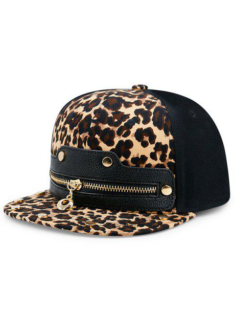 buy Leopard Zipper Faux Leather Spliced Baseball Hat - LEOPARD PRINT PATTERN  Mobile