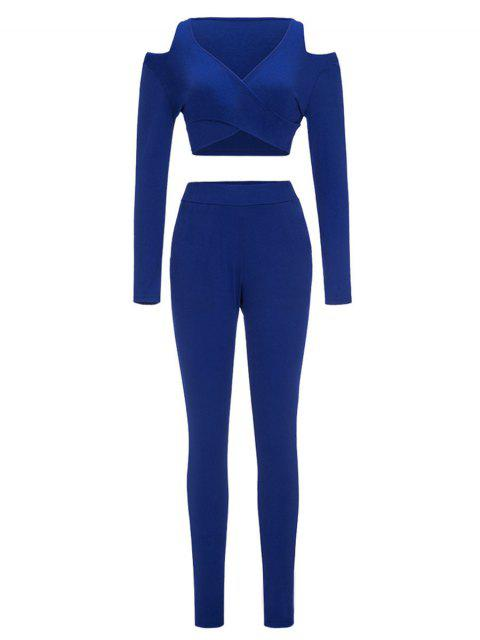 lady Cold Shoulder Crop Top and Skinny Pants - BLUE M Mobile