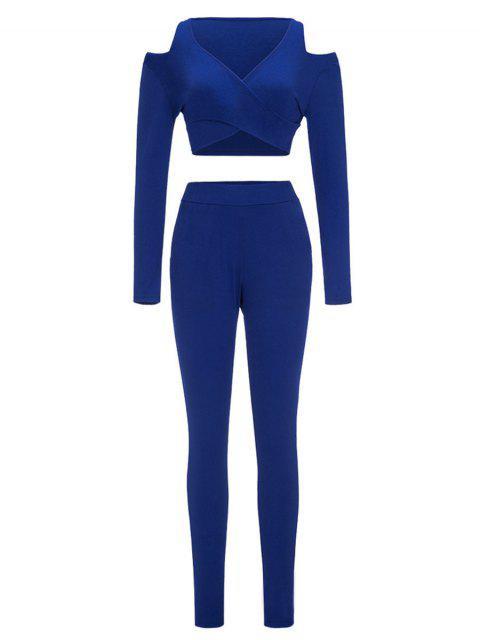 Pantalones cortos de hombro frío y pantalones flacos - Azul M Mobile