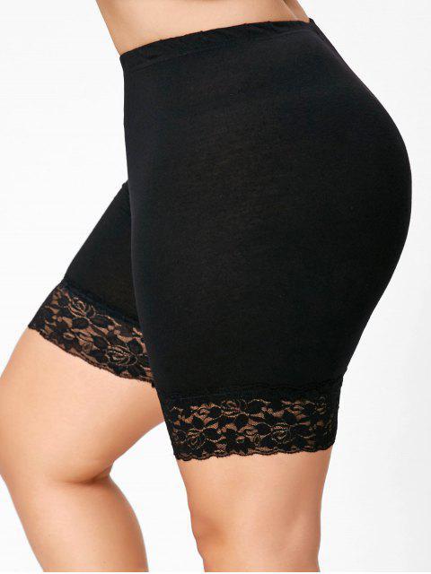 women Plus Size Lace Insert Short Leggings - BLACK 3XL Mobile