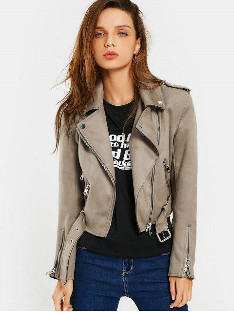 womens Asymmetric Zipper Belted Faux Suede Jacket - CAMEL L Mobile