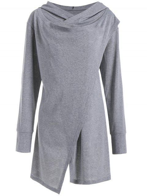 affordable Hooded Overlap Asymmetrical Plus Size Top - GRAY 3XL Mobile