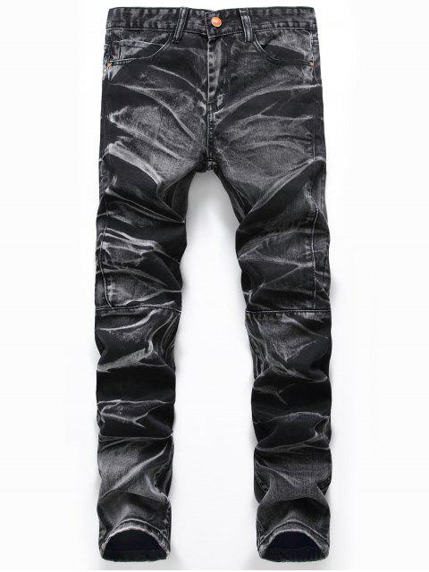 unique Tie Dye Straight Leg Jeans - DEEP GRAY 38 Mobile