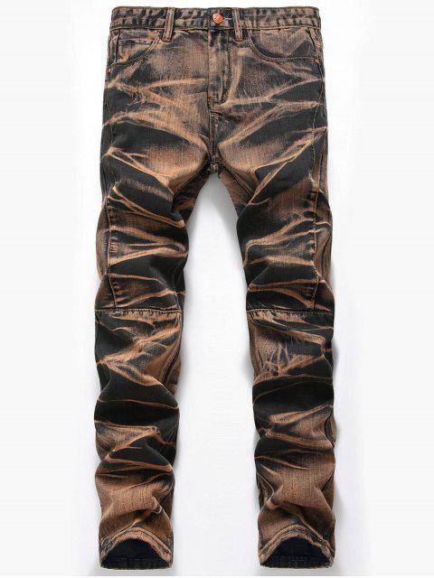 womens Tie Dye Straight Leg Jeans - EARTHY 38 Mobile