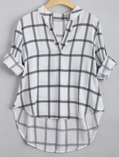 outfit V Neck Checked High Low Blouse - CHECKED M Mobile