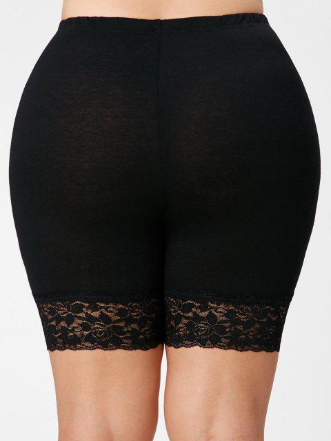 Legging Courts Grande Taille Bas en Dentelle - Noir XL Mobile