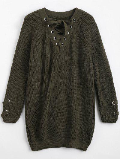Loose Lace Up Chunky Sweater - Army Green