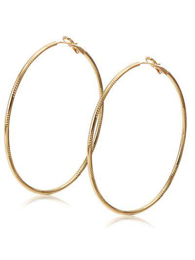 Alloy Engraved Hoop Earrings Champagne