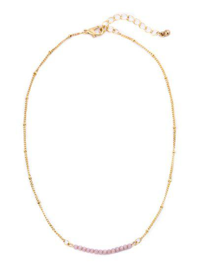 Beaded Chain Collarbone Necklace - Pink