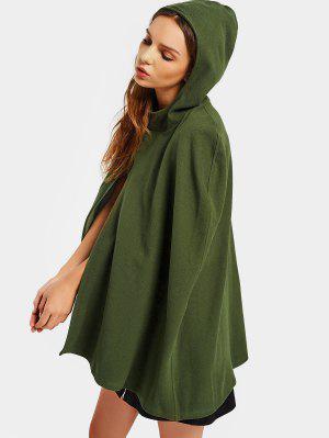 Plain Hooded Cape Coat - Army Green Xl