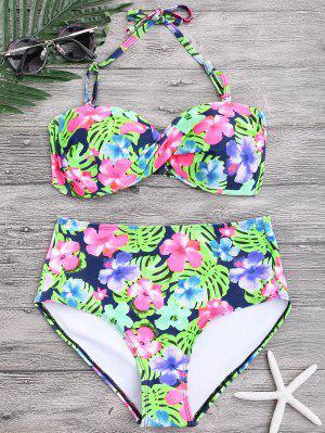 Floral Twist Push Up Bikini De Alta Cintura - Floral L