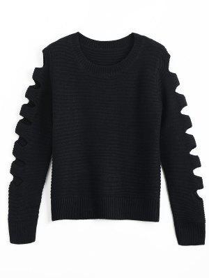 Crew Neck Cutout Sleeve Sweater - Black
