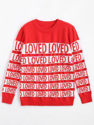 Letter Contrasting Crew Neck Sweater - Red