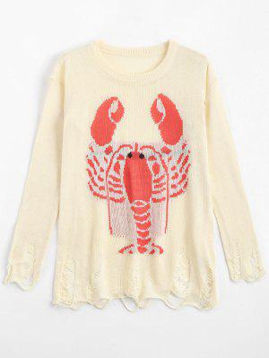 Langosta Suelta Gráfica Ripped Sweater - Blancuzco - Blancuzco S
