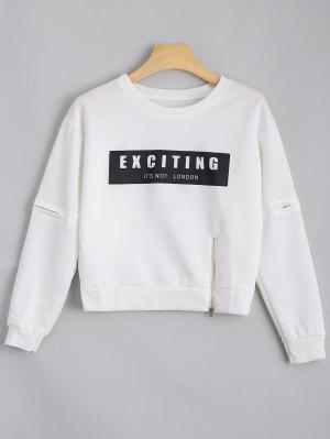 Camiseta Con Cremallera Con Cuello De Tripulación - Blanco
