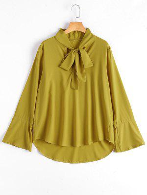 Flare Sleeve Plain Bowtie Blouse - Ginger S