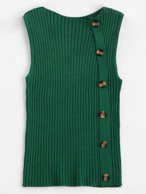 Side Buttoned Vest Ribbed Sweater - Green