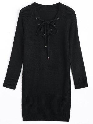 Long V Neck Lace Up Sweater - Black