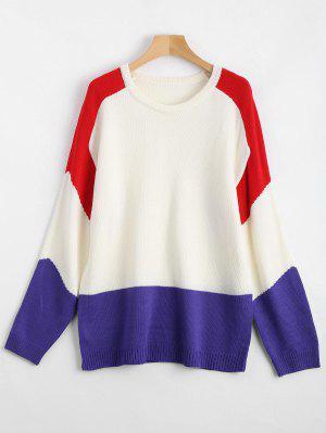 Jersey De Cuello Redondo Suéter De Contraste - Multi
