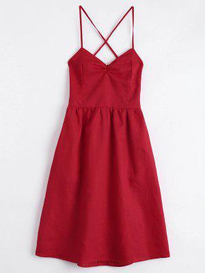 Abrimos Detrás El Vestido Cruzado Acodado Del Cami De Criss - Rojo - Rojo S