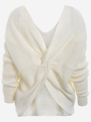 Plunging Neck Twist Back Sweater - White