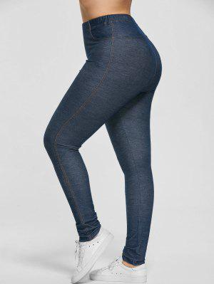 Plus Size Stretchy Pockets Skinny Pants