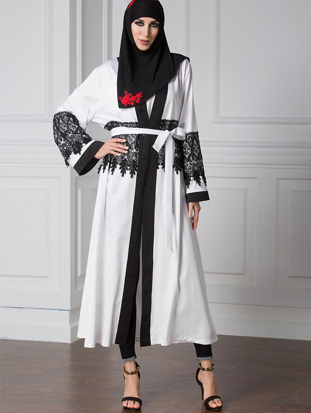 Lace Trim Belted Two Tone Cardigan 222265701
