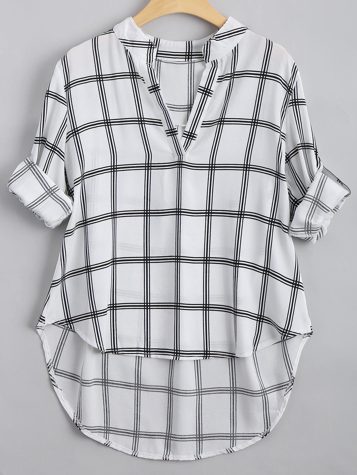 V-Ausschnitt geprft hoch niedrig Bluse