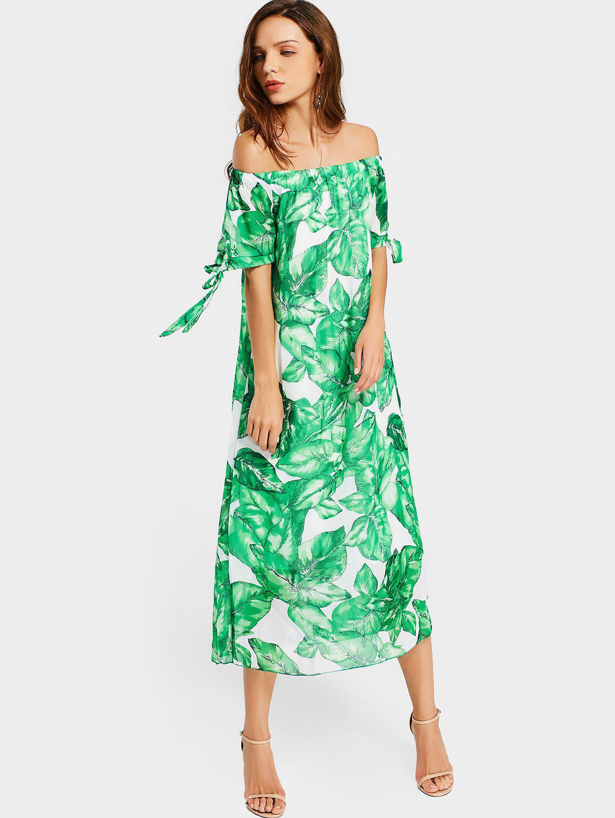 Off The Shoulder Leaves Print Dress 220770702