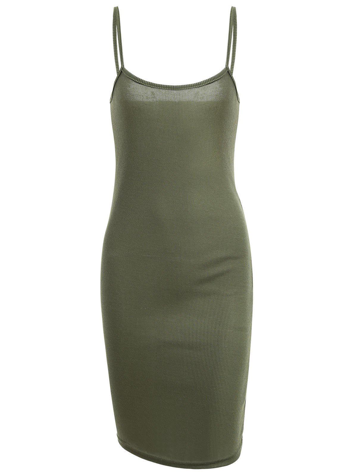 Slit Ribbed Bodycon Slip Dress 220947204