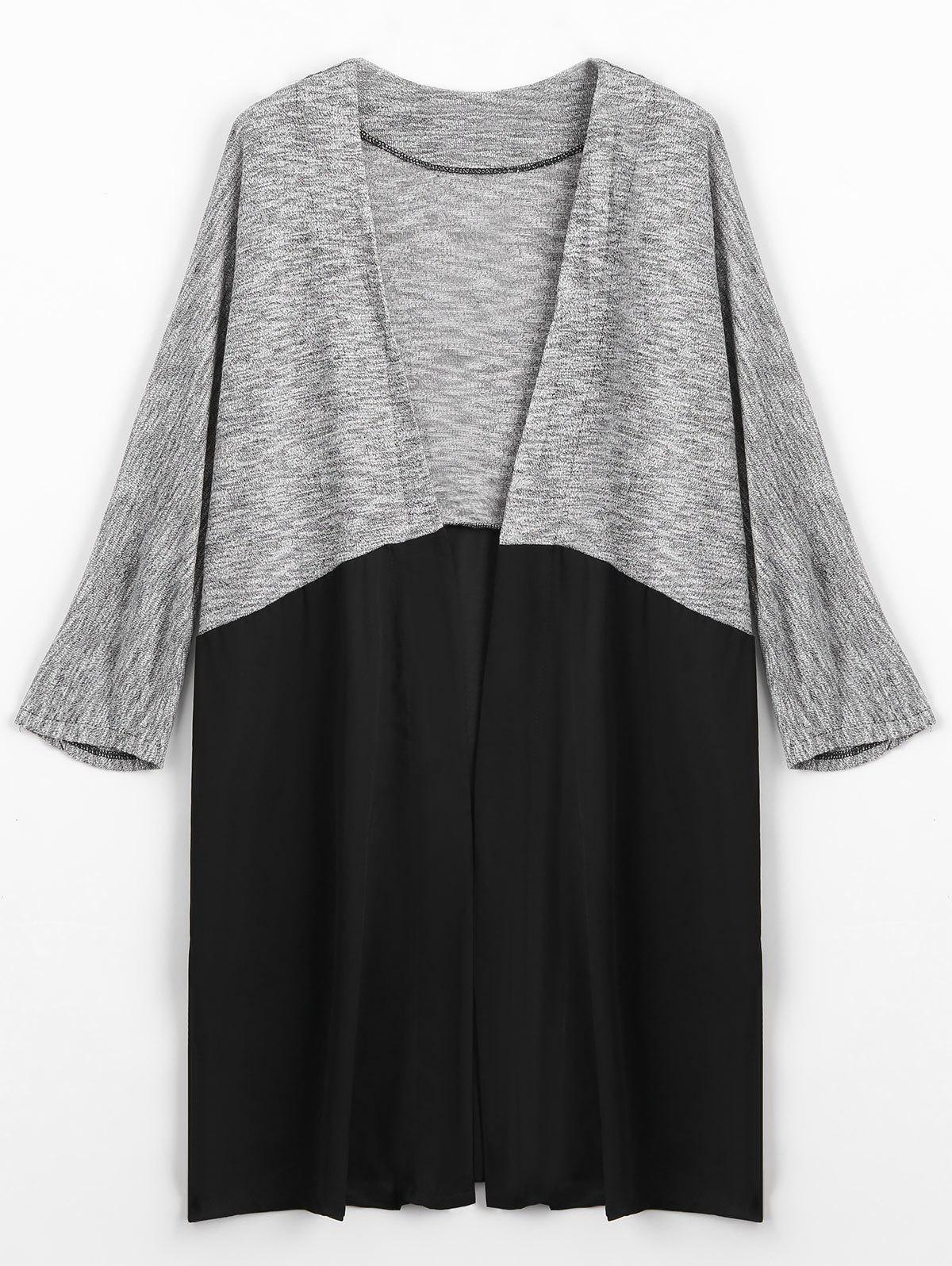 Two Tone Open Front Cardigan 221674403
