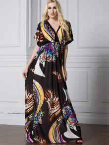 فستان باتوينغ الأكمام طباعة الفراشة ماكسي - متعدد الألوان 2xl