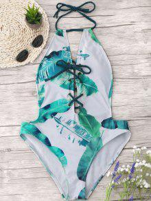 النخيل ورقة الدانتيل متابعة قطعة واحدة ملابس السباحة - الأبيض والأخضر S