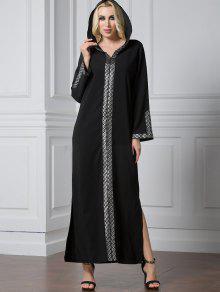 الشق كم طويل لامعة تريم فستان ماكسي - أسود L