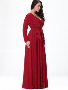 8d99d981b2b2 29% OFF] 2019 Long Sleeve Belted Formal Maxi Dress In RED | ZAFUL