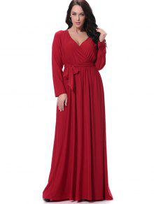 كم طويل مربوط فستان ماكسي الرسمي - أحمر L