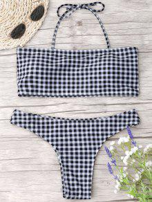 Checked Halter Thong Bikini Set - Checked S